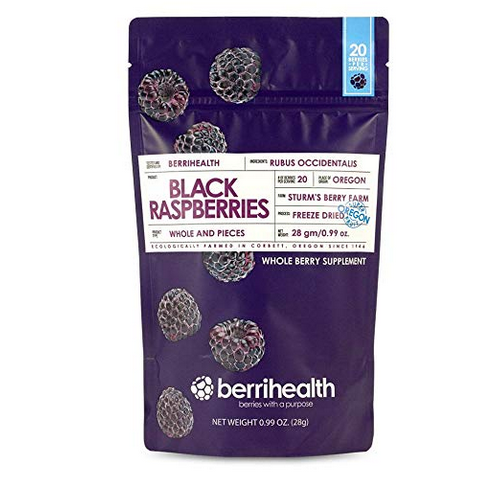 Berrihealth's 100% Authentic Whole Freeze-Dried Black Raspberries - 28 Gram Pouch