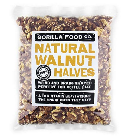 Gorilla Food Co. Premium Light Walnut Halves (Halves Only) Raw Shelled - 1 Pound Resealable Bag