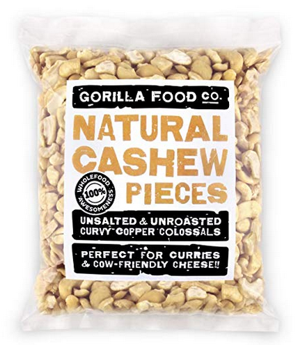 Gorilla Food Co. Cashew Pieces Raw Unsalted - 1 Pack (1 Pound) Resealable Bag