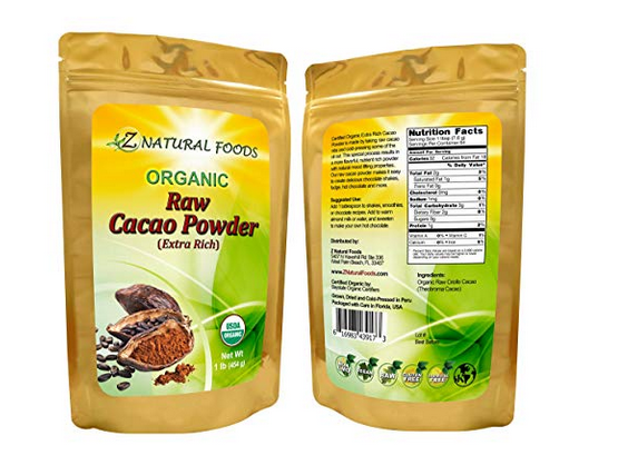 USDA Certified Organic Cacao Powder (Extra Rich) - Raw Chocolate, Antioxidants, Fresh, Delicious, Gluten-Free, Non-GMO, 65 servings (1 lb)