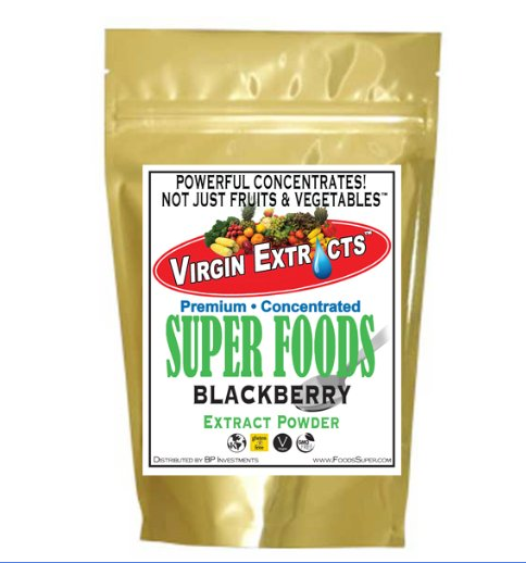 Virgin Extracts (TM) Pure Premium Raw Freeze Dried Organic Blackberry Powder Extract Concentrate 8oz Pouch (5 X Stronger) Blackberry Powder Blackberries Black Berry Superfood