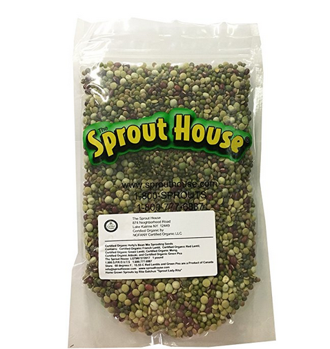 The Sprout House Certified Organic Non-gmo Sprouting Seeds Hollys Mix - Mung, Adzuki, Green Pea, Red Lentil, French Lentil, Green Lentil 1 Pound